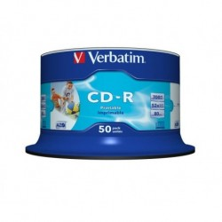 CD-R Verbatim 52x 700MB (Cake 50) WIDE PRINTABLE NON-ID