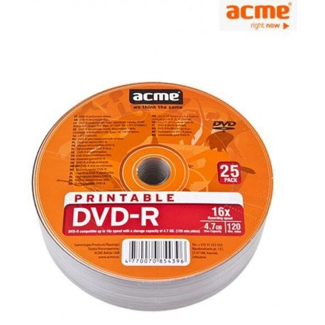 DVD-R ACME 4.7GB 16X shrink printable 25pack