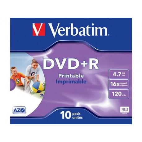 DVD+R VERBATIM 4.7GB X16 printable (10 JEWEL CASE)