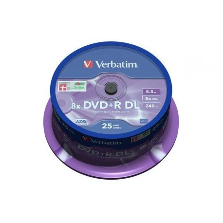 DVD+R VERBATIM 8.5GB X8 DOUBLE LAYER (25 CAKE)