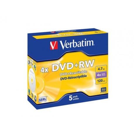 DVD+RW VERBATIM 4.7GB X4 MATT SILVER (5 JEWEL CASE)