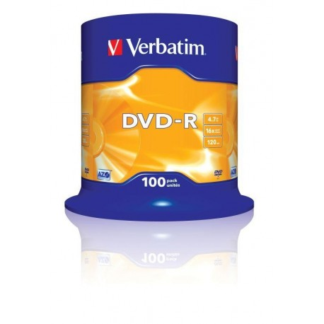 DVD-R Verbatim 16x 4.7GB (Cake 100) MATT SILVER