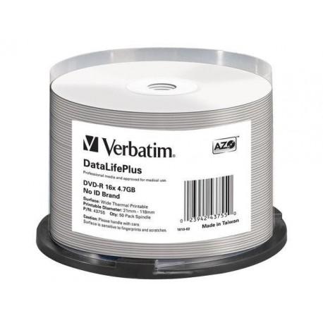 DVD-R VERBATIM 4.7GB X16 AZO DL+ printable thermal białe NO ID (50 CAKE)