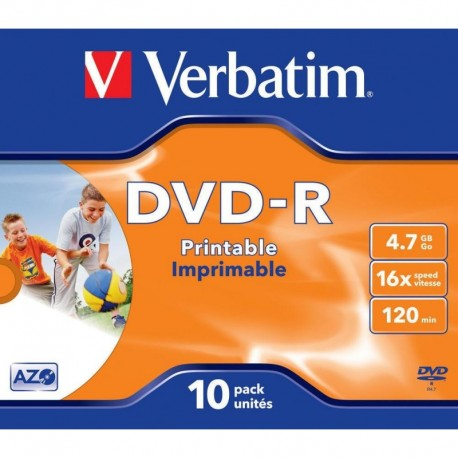 DVD-R VERBATIM 4.7GB X16 PRINTABLE (10 JEWEL CASE)