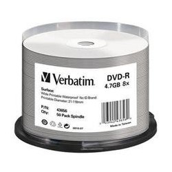 Dysk DVD-R VERBATIM 4,7GB  16x Cake 50 szt Nadruk Waterproof