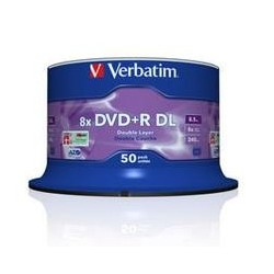 Dysk DVD+R VERBATIM 8x 8,5GB Cake 50 szt DL