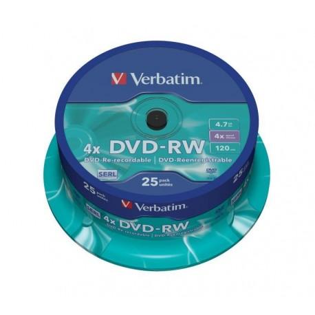 DVD-RW Verbatim 4x 4.7GB (Cake 25) MATT SILVER