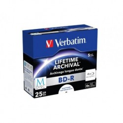 M-DISC BD-R VERBATIM 25GB X4 PRINTABLE (5 JEWEL CASE)
