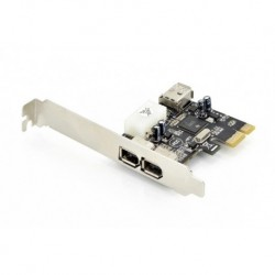 Kontroler Firewire (400) DIGITUS PCI Express, 2xZew. 1xWew. IEEE1394a 6pin, Low Profile