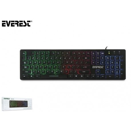 Klawiatura przewodowa EVEREST KB-840 Gaming USB Multicolor LED czarna