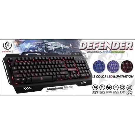 Klawiatura przewodowa Rebeltec DEFENDER Gaming USB czarna