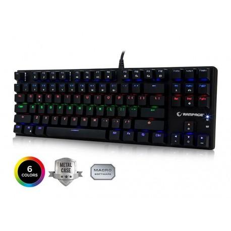 Klawiatura przewodowa RAMPAGE KB-R17 RAPTOR  6LED Gaming Blue Switch czarna