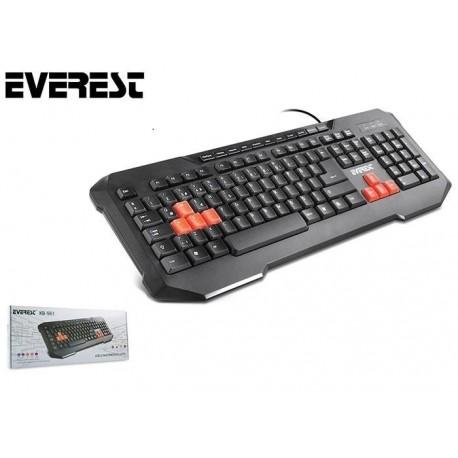Klawiatura przewodowa EVEREST KB-961 Gaming USB multimedialna czarna