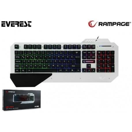 Klawiatura przewodowa RAMPAGE KB-R04 Gaming Led czarno--biała