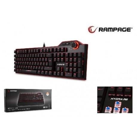 Klawiatura przewodowa RAMPAGE HYDRA R6 Gaming Blue Switch czarna