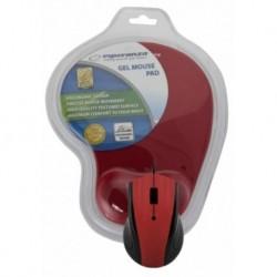 Mysz przewodowa Esperanza EM125R optyczna czerwona z podkładką żelową