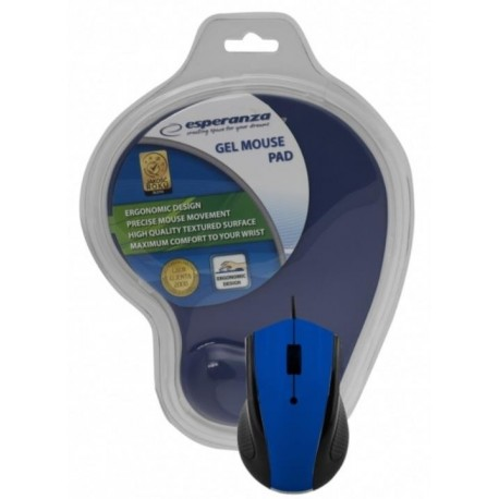 Mysz przewodowa Esperanza EM125 optyczna niebieska z podkładką żelową