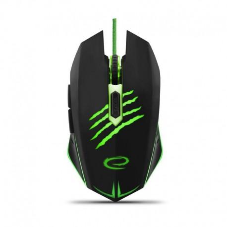 Mysz przewodowa Esperanza MX209 Claw optyczna Gaming 6D usb czarno-zielona