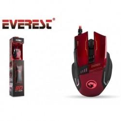 Mysz przewodowa Everest SGM-X10 optyczna 3200DPI 4LED czerwona + Podkładka dla graczy