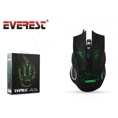 Mysz przewodowa Everest SM-790 optyczna Gaming 3200DPI 4LED czarna