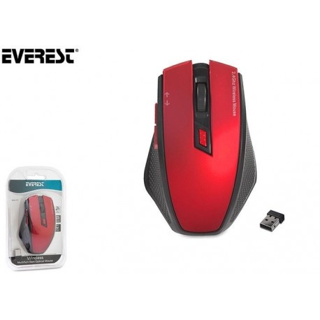 Mysz bezprzewodowa Everest SMW-777 optyczna 1600DPI czerwona