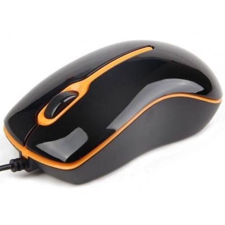 Mysz przewodowa GEMBIRD MUS-U-004-O optyczna 1-SCROLL USB czarno-pomarańczowa