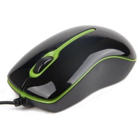 Mysz przewodowa GEMBIRD MUS-U-004-G optyczna 1-SCROLL USB czarno-zielona