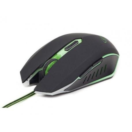Mysz przewodowa GEMBIRD optyczna Gaming 2400DPI 6-BUTTON czarno-zielona