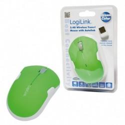 Mysz bezprzewodowa LogiLink ID0123 podróżna 2,4 GHz Autolink zielona