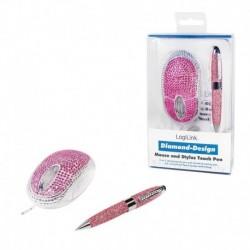 Mysz przewodowa LogiLink ID0124 Diamond optyczna USB 800dpi różowa and TouchPen