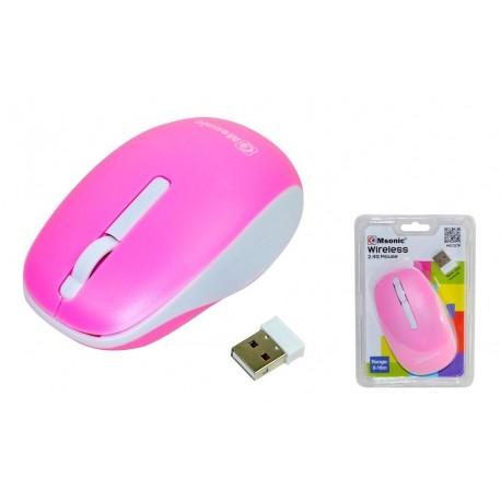 Mysz bezprzewodowa MSONIC MX707P optyczna 3 przyciski 1000dpi różowo-biała