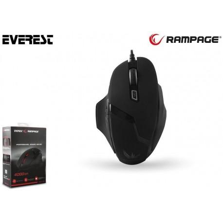 Mysz przewodowa Rampage SMX-R7 Avago 3050 optyczna Gaming 4000DPI 5LED czarna
