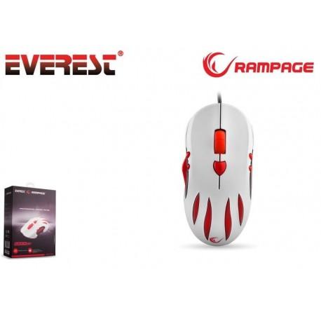 Mysz przewodowa Rampage SMX-R3 optyczna Gaming 2000DPI UNIQUE RIBBED biało-czerwona