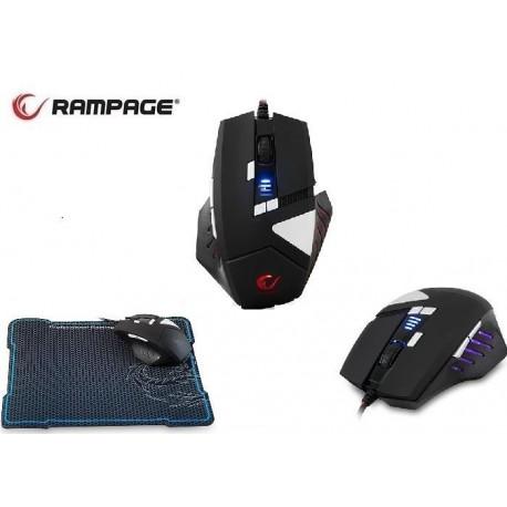 Mysz przewodowa Rampage SGM-RX9 optyczna Gaming 4500DPI Avago 3050 4LED czarna