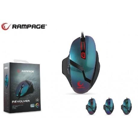 Mysz przewodowa Rampage SMX-R7S REVOLVER optyczna Gaming PMW3310 10000DPI 6 LED czarno-niebieska
