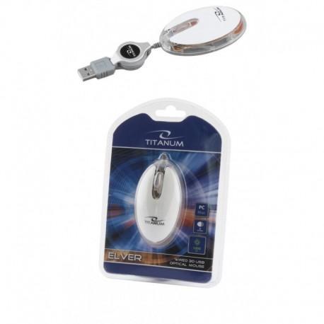 Mysz przewodowa Titanum 3D ELVER TM112W optyczna biało-przezroczysta