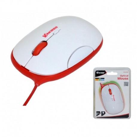 Mysz przewodowa VAKOSS TM-426WR optyczna 4 przyciski 1600dpi biało-czerwona
