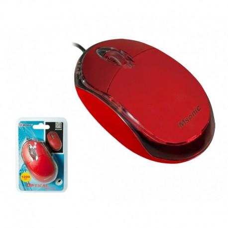 Mysz przewodowa MSONIC MX264R optyczna 3 przyciski 1200dpi czerwona