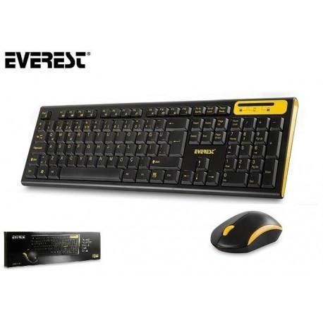 Zestaw bezprzewodowy klawiatura + mysz  EVEREST KM-5535 czarno-żółty