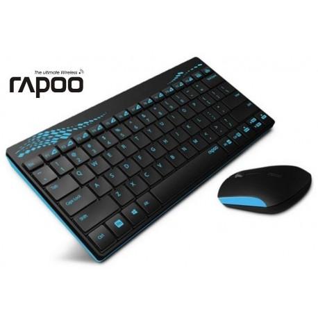 Zestaw bezprzewodowy klawiatura + mysz RAPOO 2,4G 8000 czarno-niebieski