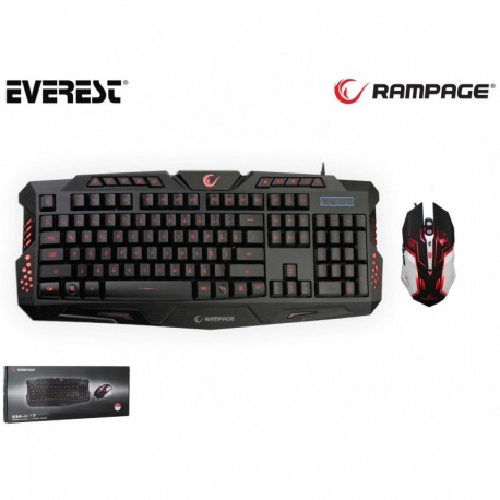 Zestaw przewodowy klawiatura + mysz RAMPAGE KM-R77 3 LED Gaming