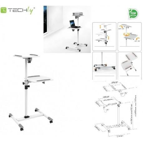 Stolik do projektora Techly mobilny wysoki biały ICA-TB TPM-6