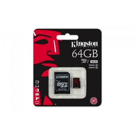 Karta pamięci KINGSTON microSDXC 64GB UHS-I Class U3 + adapter, 90/80 MB/s