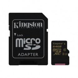 Karta pamięci Kingston microSDXC 64GB Class 10 UHS-I (U3) (45W/90R MB/s) Gold Series + adapter