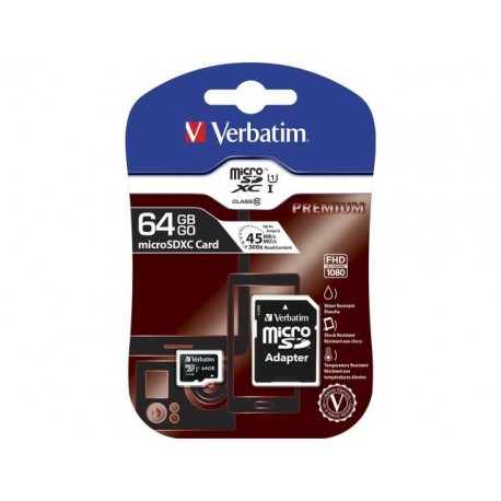 Karta pamięci microSDXC Verbatim 64 GB Class 10 + adapter